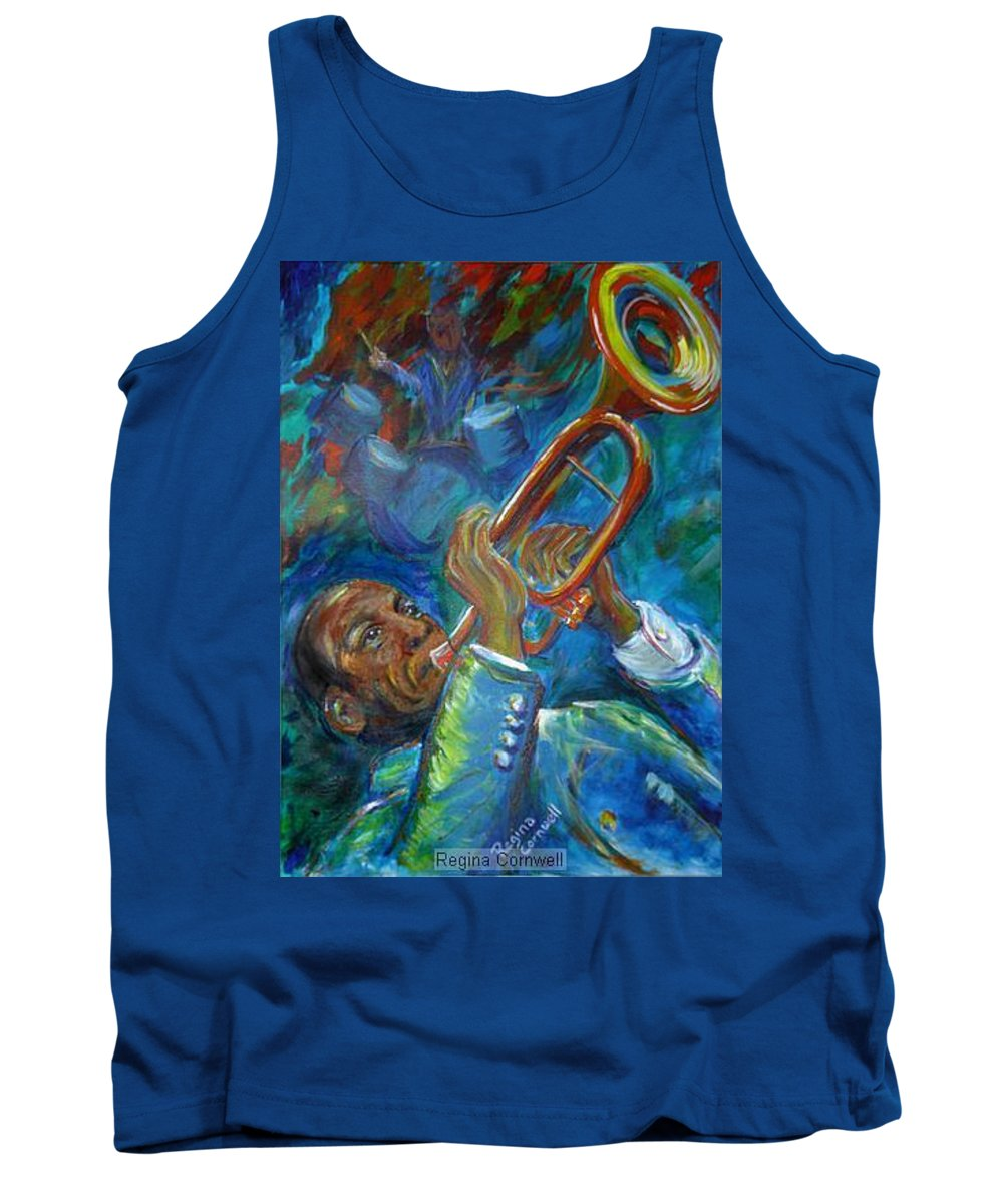 Jazz Tank Top featuring the painting Jazz Man by Regina Walsh