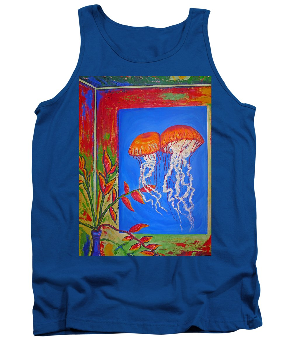 Jellyfish Tank Top featuring the painting Jellyfish With Flowers by Ericka Herazo