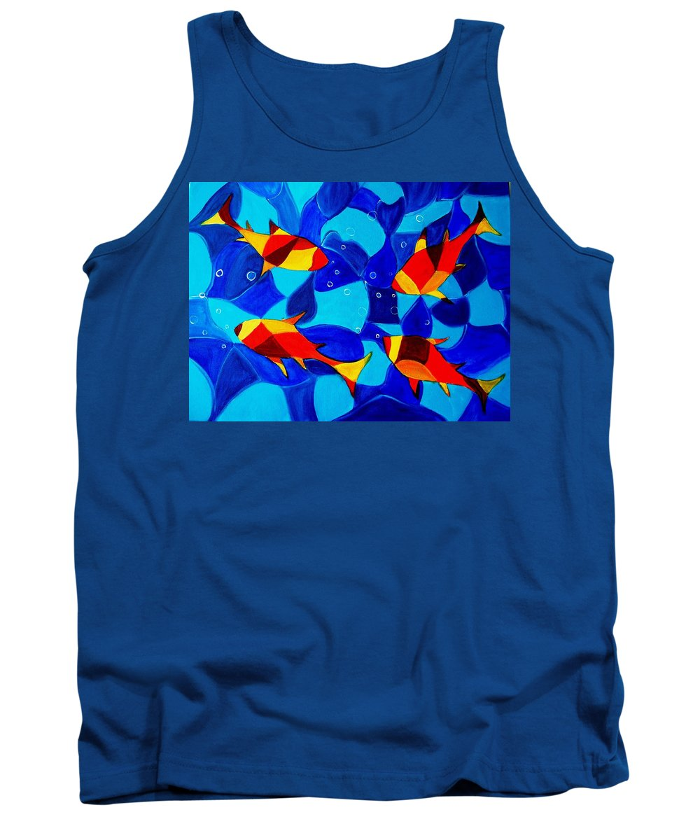Abstract.acrylic.fish.bubbles.art.painting.modern.contemporary.popblue Red Bubbles Yellow Landscape Tank Top featuring the painting Joy Fish Abstract by Manjiri Kanvinde