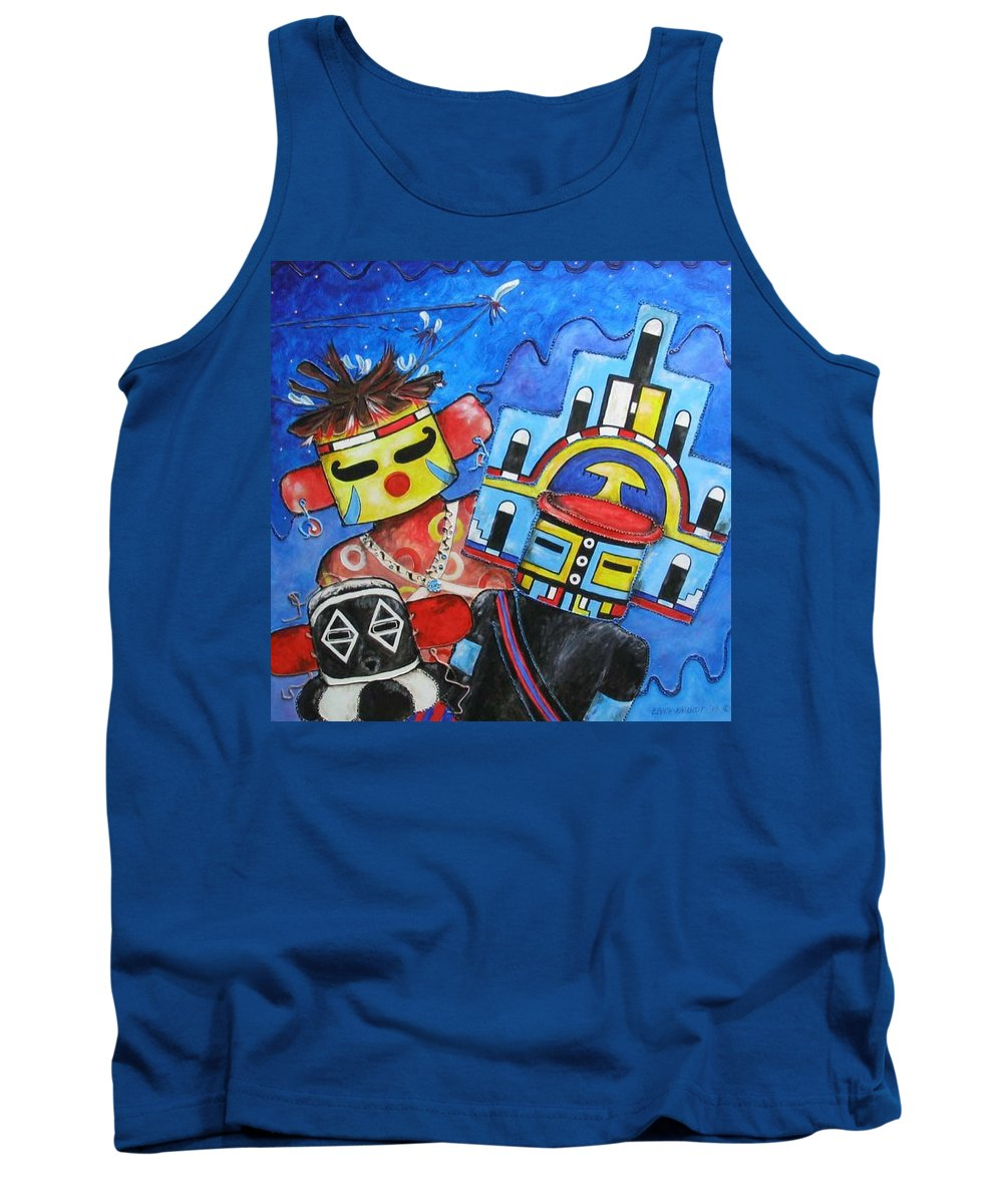 Native Tank Top featuring the painting Kachina Knights by Elaine Booth-Kallweit