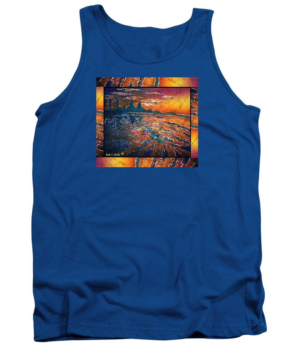 Kayak Tank Top featuring the painting Kayaking Serenity - Bordered by Sue Duda