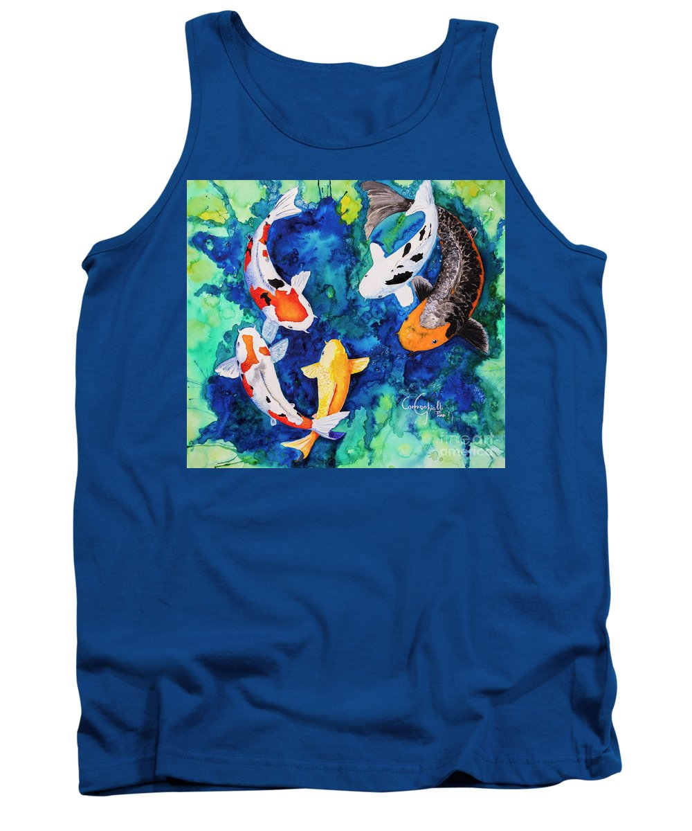 Koi Tank Top featuring the painting Koi Family by Corrado Ghioldi