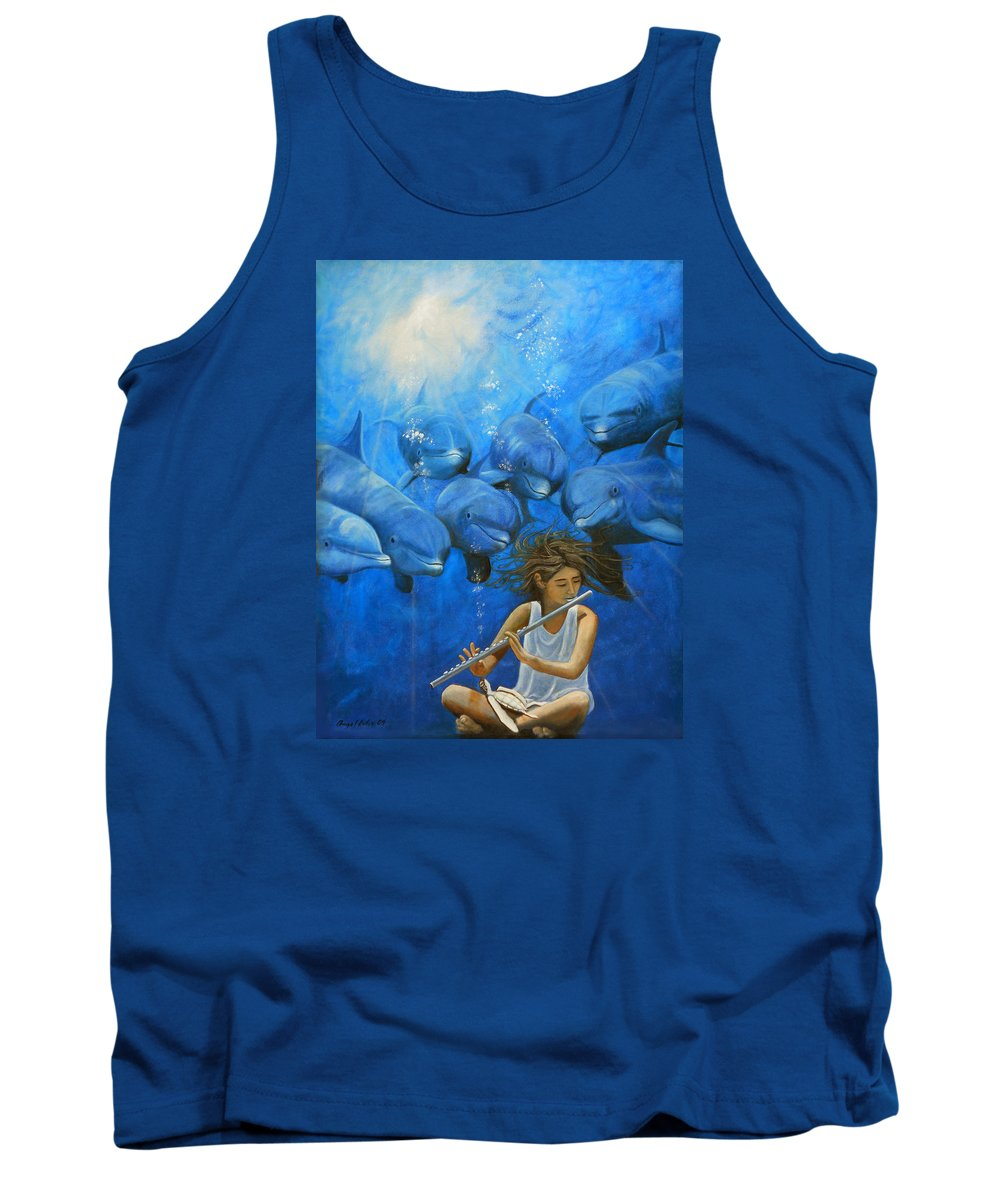Flautista Tank Top featuring the painting La Flautista by Angel Ortiz