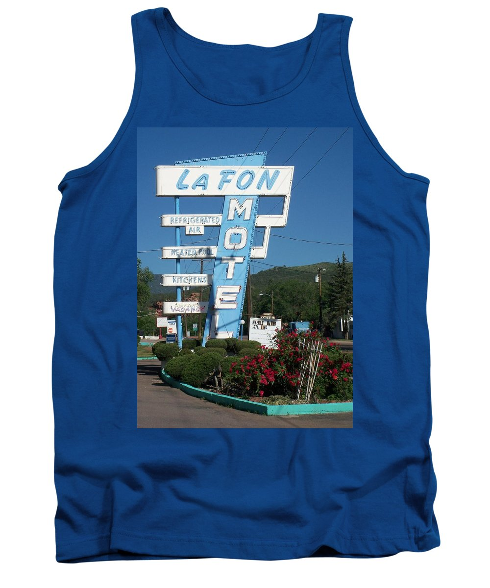 Vintage Motel Signs Tank Top featuring the photograph Lafon Motel by Anita Burgermeister