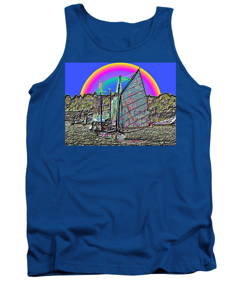 Seattle Tank Top featuring the photograph Lake Union Rainbow Sail by Tim Allen