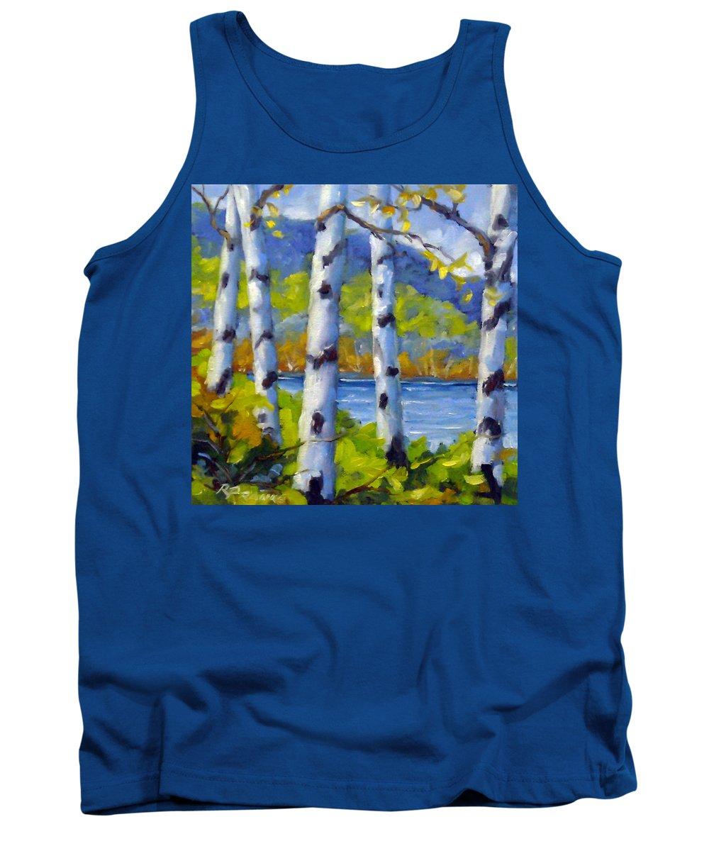 Original Painting;oil; Landscape; Birches; Trees; Nature; Richard T Pranke; Lake Tank Top featuring the painting Lake View by Richard T Pranke