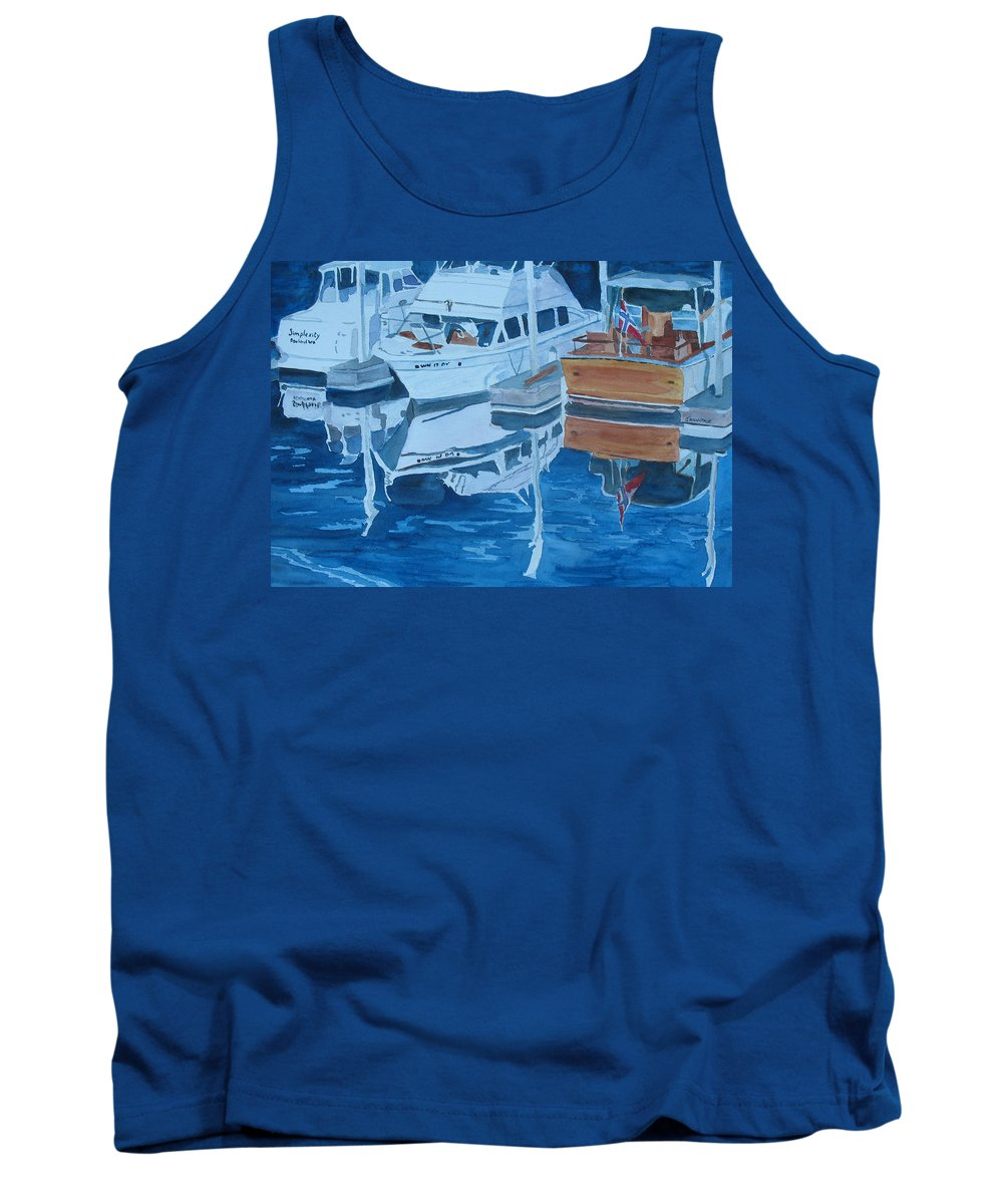Boats Tank Top featuring the painting Late Afternoon Reflections by Jenny Armitage
