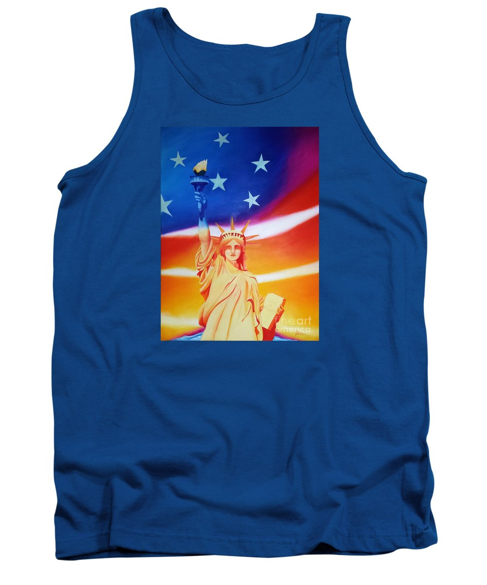 Statue Liberty Lady Sunrise Sunset Flag United States America Patriot Citizen Freedom Strength Orange Blue Yellow Pink Red Torch Gown Constitution Republic Democracy Stars And Stripes Patriotism Country North America American Strong Tank Top featuring the painting Liberty by Jeanne Walker