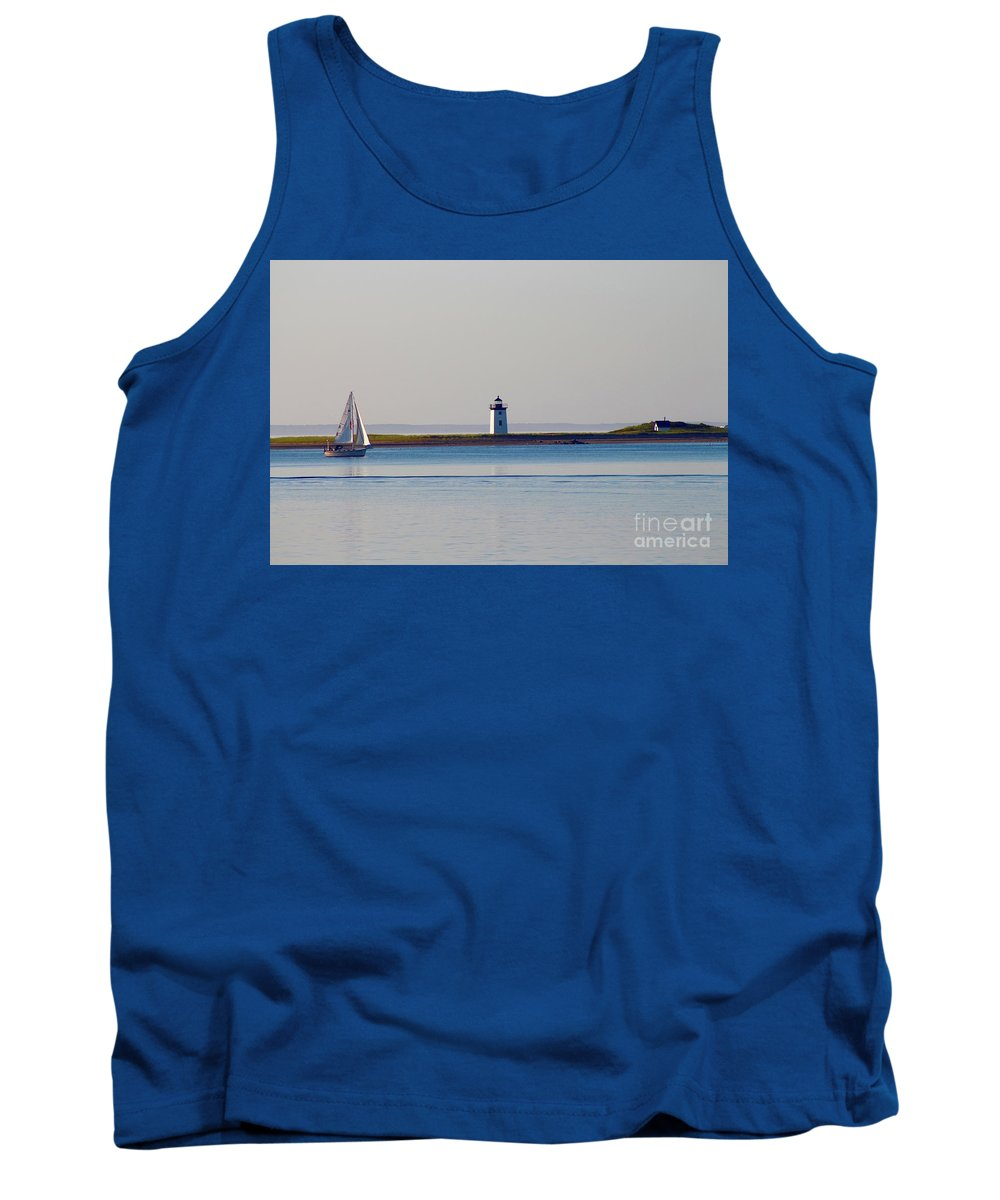 Sailboat / Lighthouse / Provincetown Tank Top featuring the photograph Lighthouse Sail 2 by Gregory E Dean