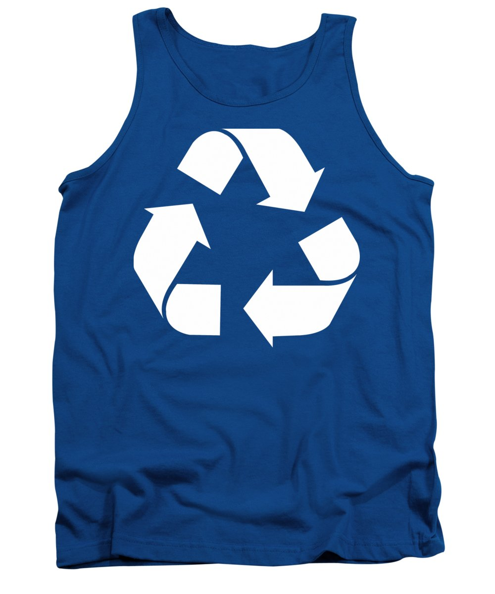 Green Recycle Symbol Tank Top featuring the drawing Living Green, White Reduce, Reuse, Recycle, Repurpose by Tina Lavoie