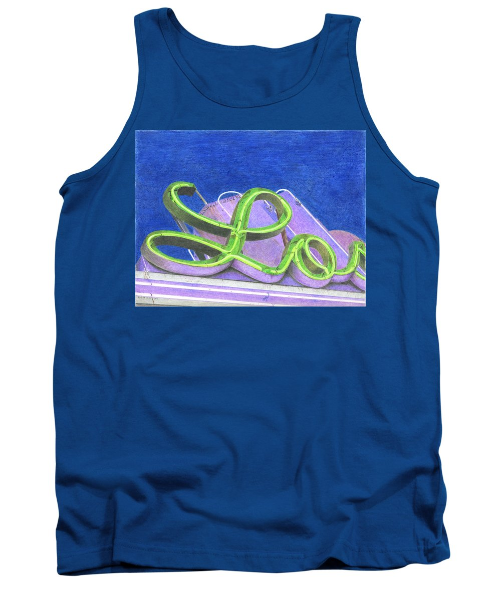 Neon Sign Tank Top featuring the drawing Lo by Rob De Vries