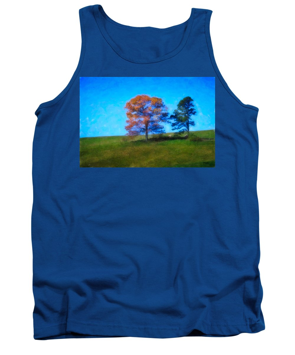 Fall Tank Top featuring the digital art Lone Trees Painting by Teresa Mucha