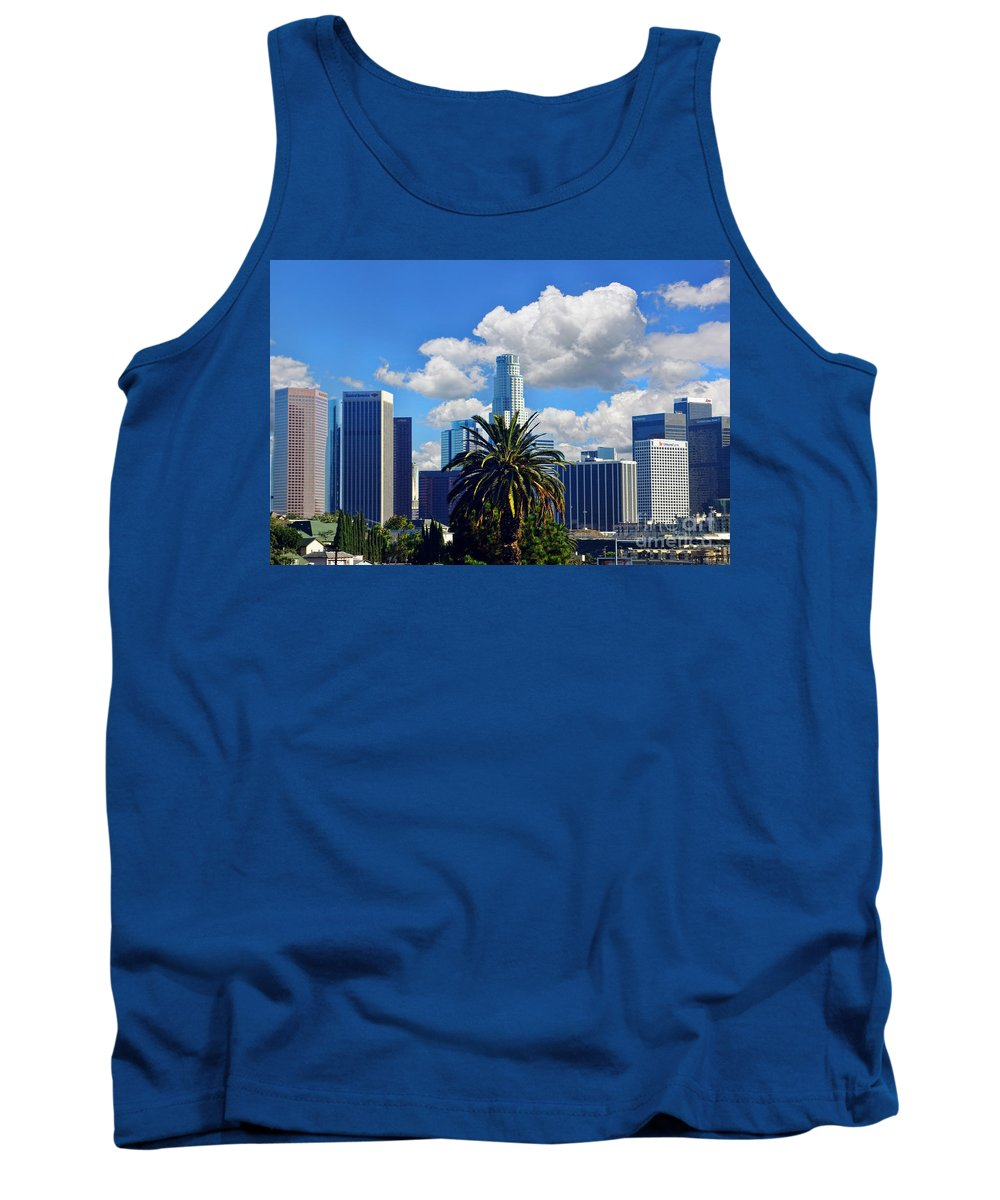 Los Angeles Tank Top featuring the photograph Los Angeles And Palm Trees by Mariola Bitner