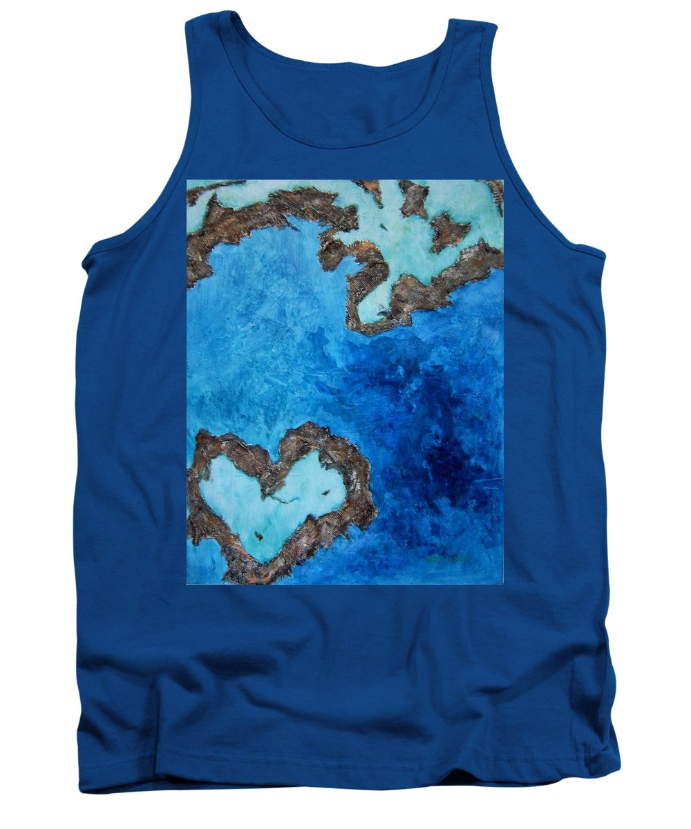 Great Barrier Reef Australia Tank Top featuring the painting Love Heart Reef by Georgia Mansur