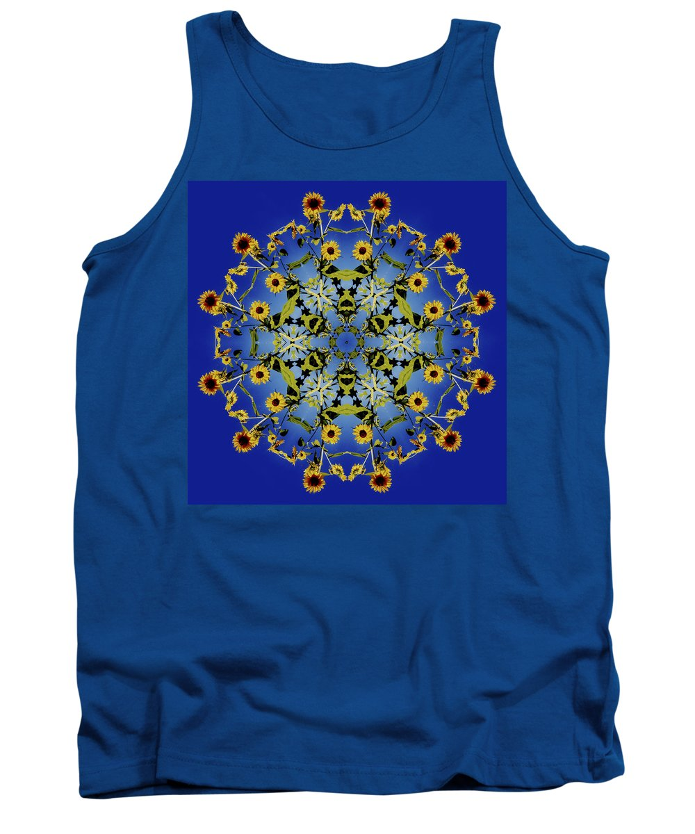 Mandala Tank Top featuring the digital art Mandala Sunflower by Nancy Griswold