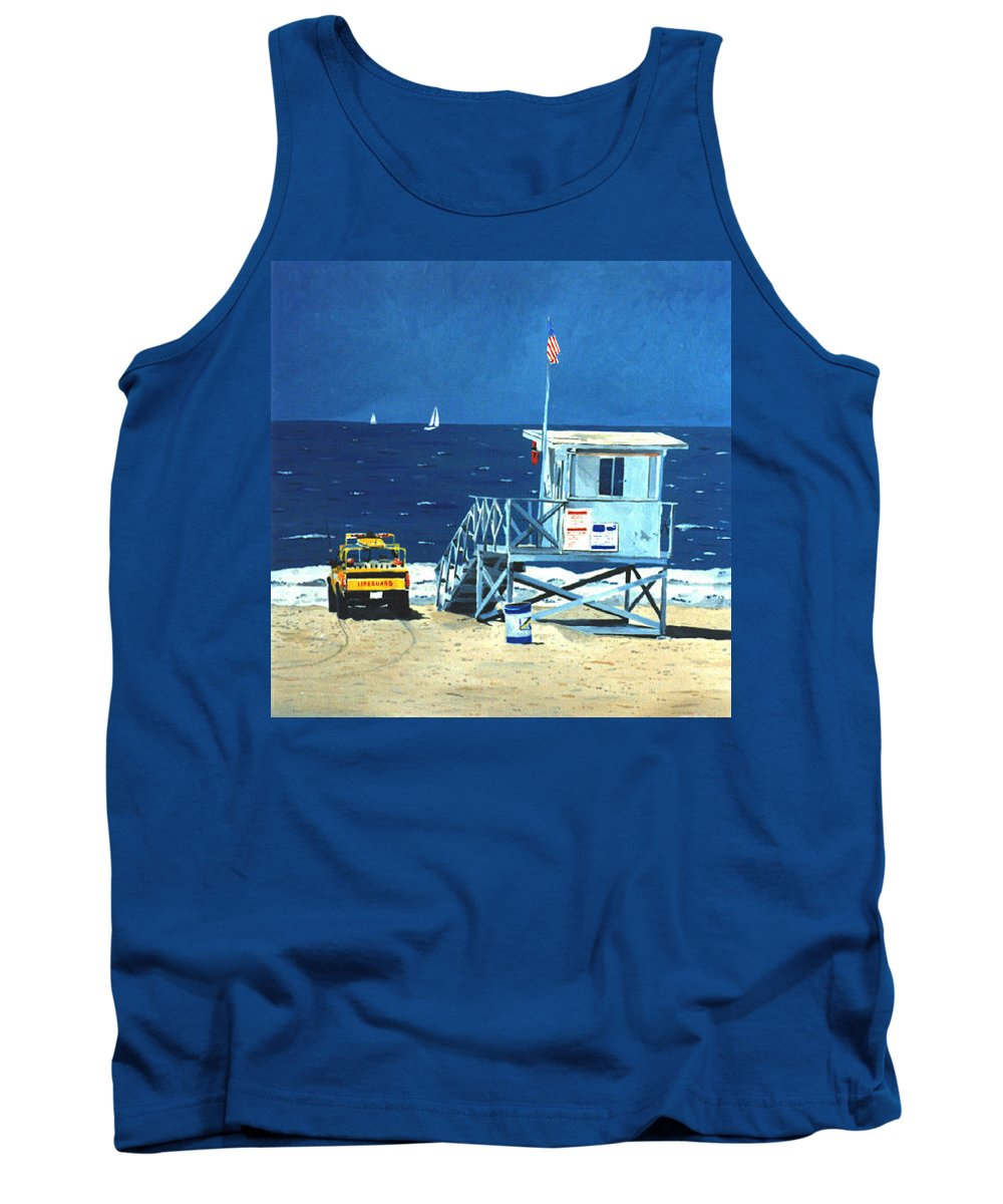 Modern Tank Top featuring the painting Manhattan Beach Lifeguard Station by Lance Headlee