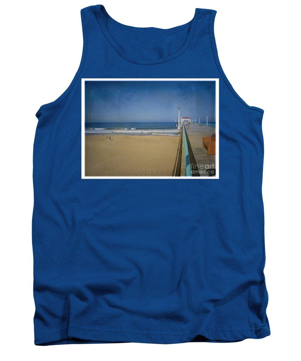 Manhattan Beach Tank Top featuring the photograph Manhattan Beach Pier Back Then by David Zanzinger