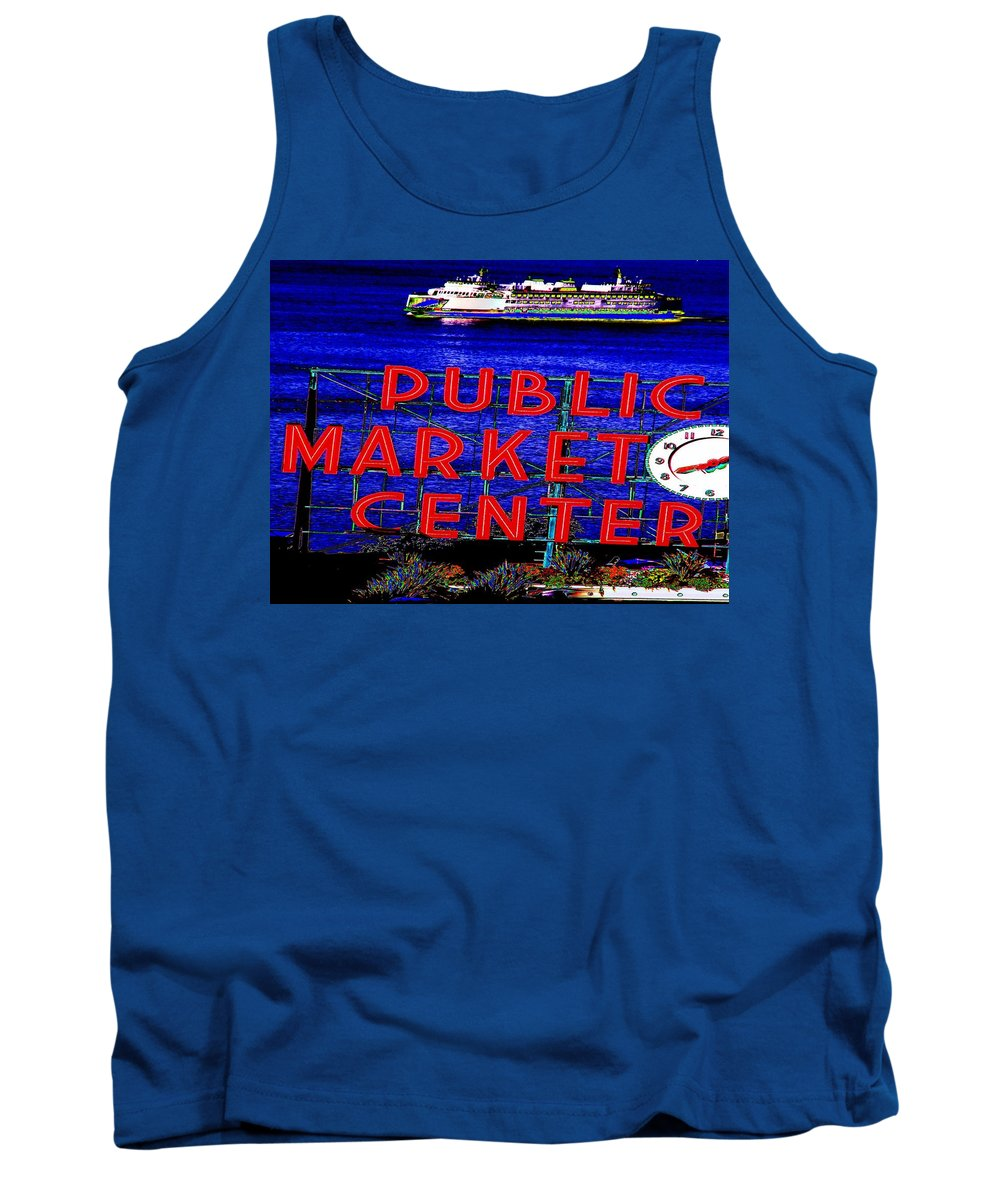 Seattle Tank Top featuring the photograph Market Clock And Ferry by Tim Allen