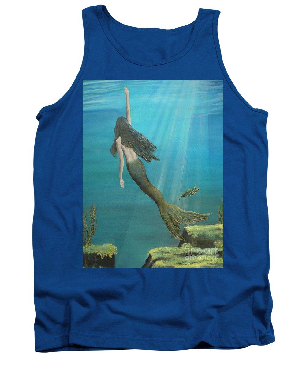 Mermaid Tank Top featuring the painting Mermaid Of Weeki Wachee by Kris Crollard