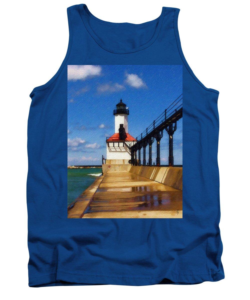 Lighthouse Tank Top featuring the photograph Michigan City Light 1 by Sandy MacGowan