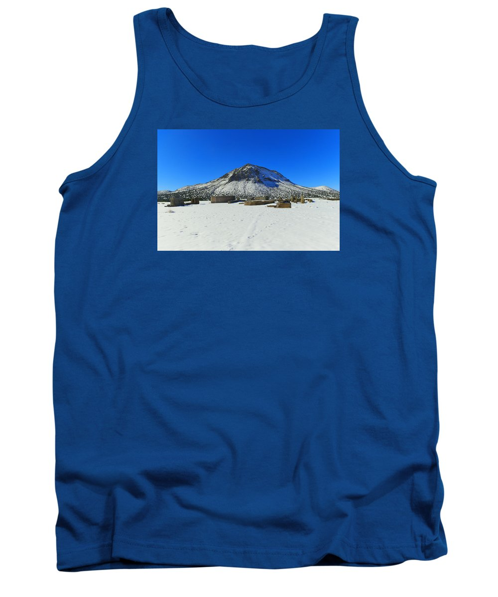 Mountain Tank Top featuring the photograph Mining Ruins Foreground A Snowy Mountain by Jeff Swan