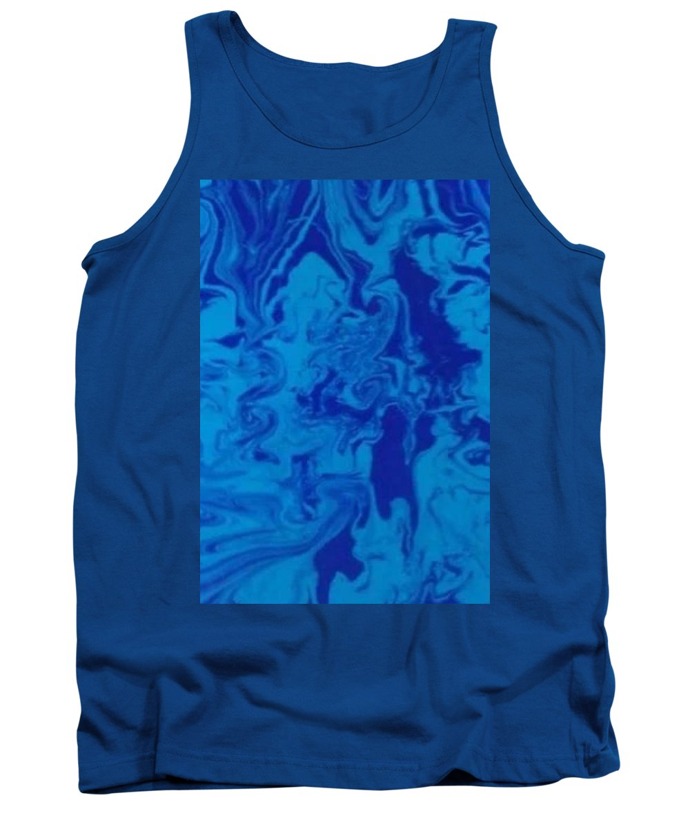 Monotone Tank Top featuring the mixed media Monotone Blue by Roy Hummel