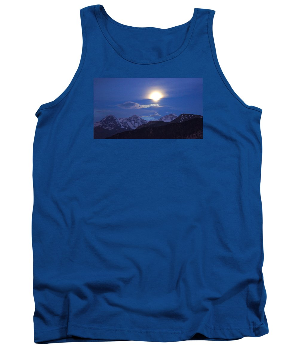 Landscape Tank Top featuring the painting Moon Light Over The Alps by Farah