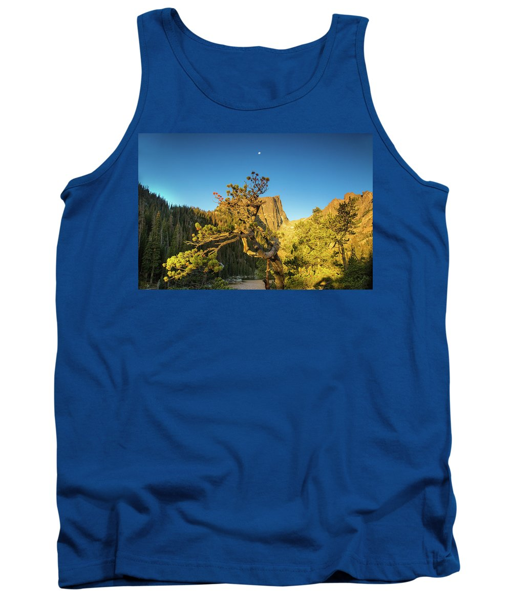 Dream Lake Tank Top featuring the photograph Moon Over Dreams by Kunal Mehra