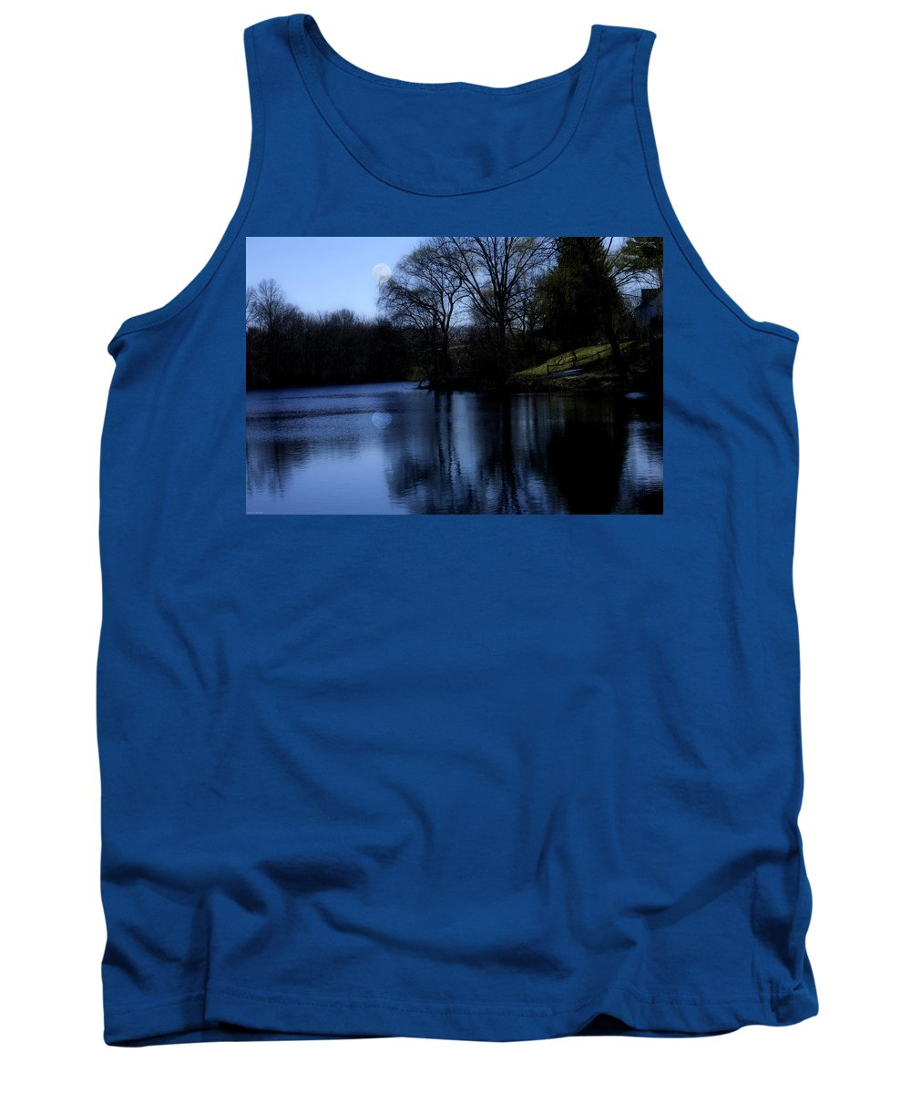 Moon Tank Top featuring the digital art Moon Over The Charles by Edward Cardini
