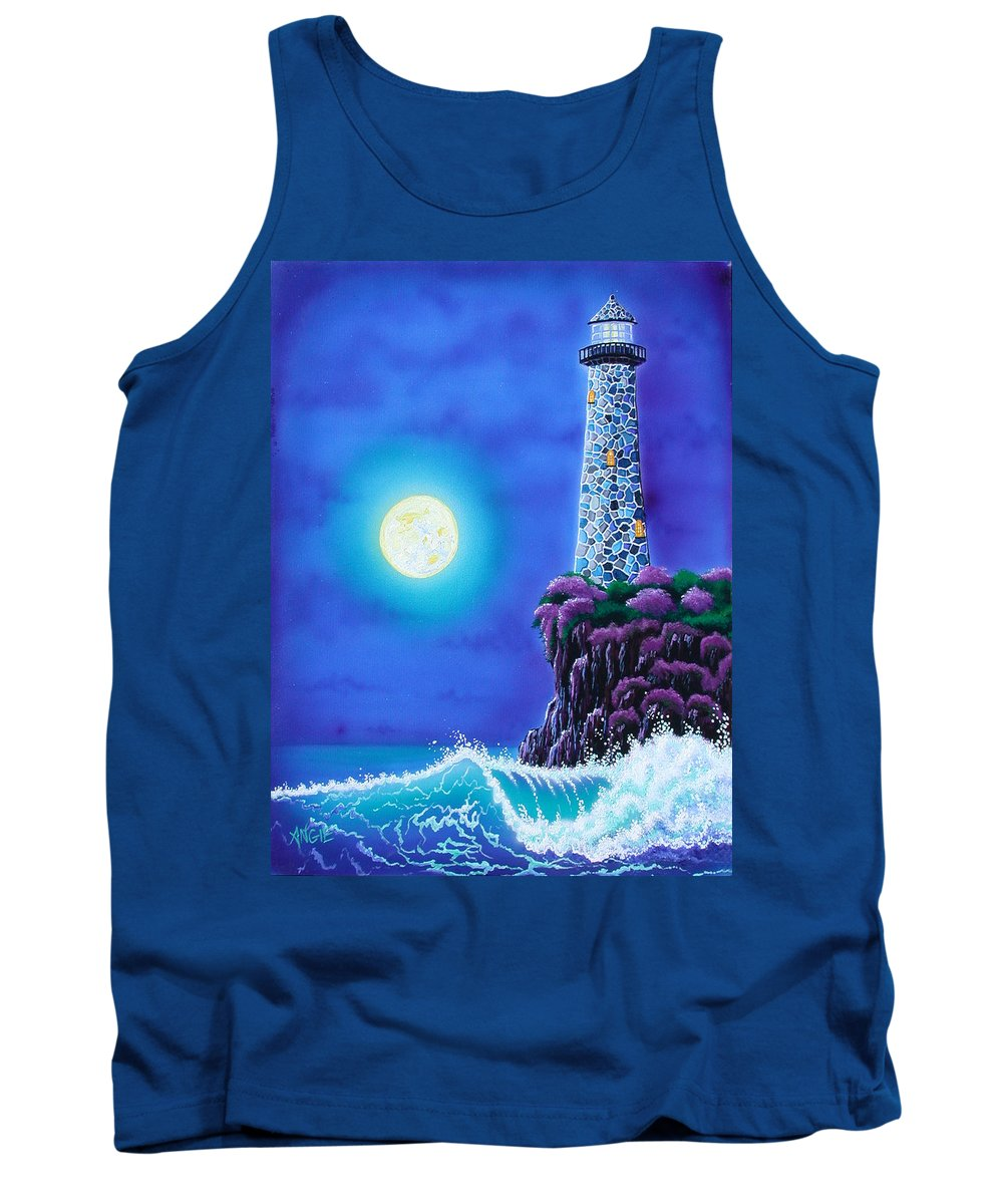 Lighthouse Tank Top featuring the painting Moonlight Vigil by Angie Hamlin