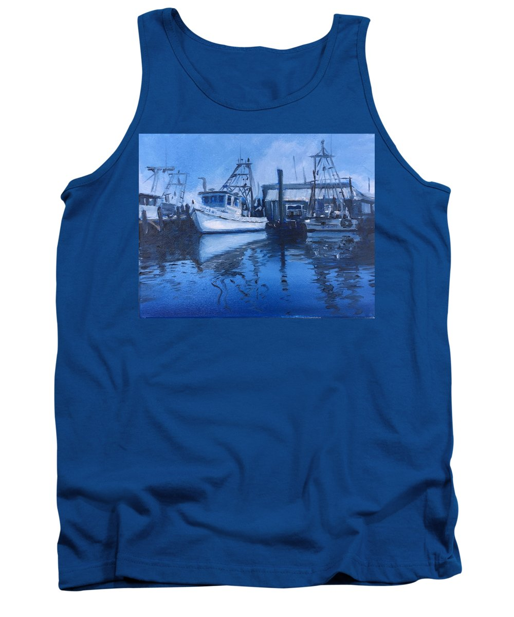 Shrimpboats Tank Top featuring the painting Moonlit Harbor by Jeffrey Neel McDaniel