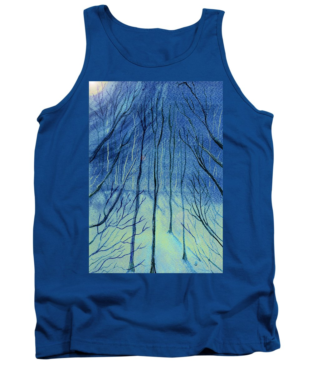 Watercolor Tank Top featuring the painting Moonlit In Blue by Brenda Owen