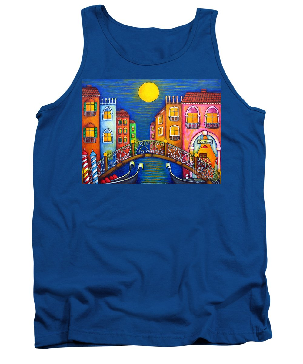 Venice Tank Top featuring the painting Moonlit Venice by Lisa Lorenz