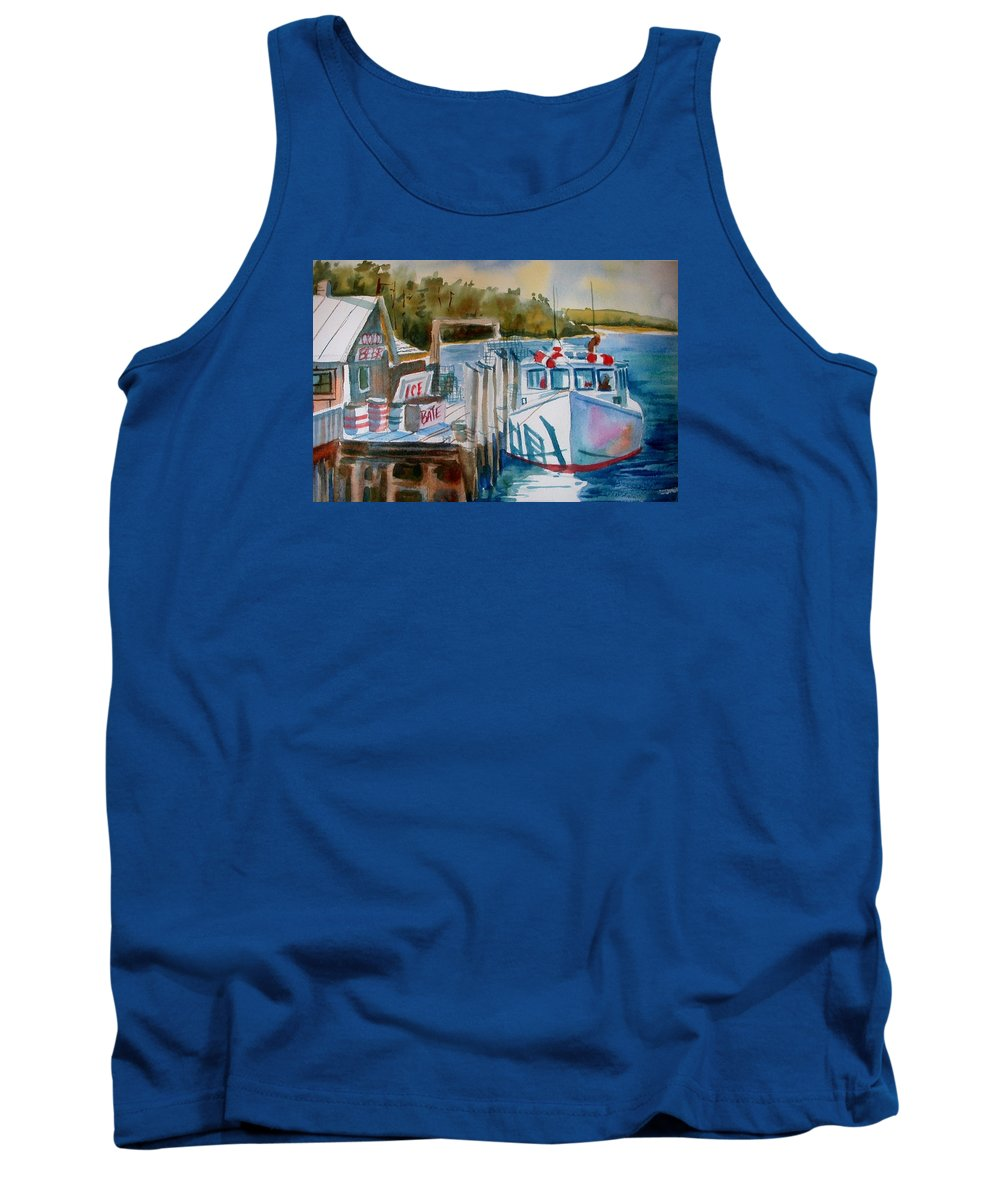New Engalnd Fishing Village Tank Top featuring the painting Moored Fishing Boat by Linda Emerson