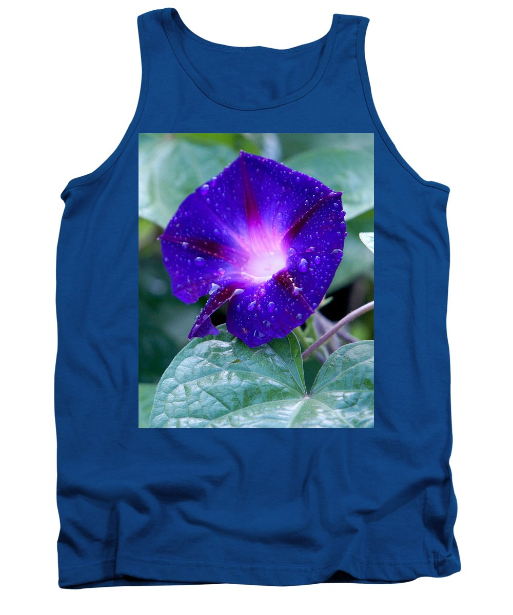 Flower Rain Green Purple Blue Blossom Nature Macro Morning Glory Tank Top featuring the photograph Morning Glory by Pete Mikelson