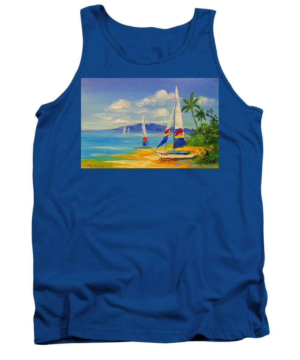 Morning On A Sunny Beach Tank Top featuring the painting Morning On A Sunny Beach by Olha Darchuk