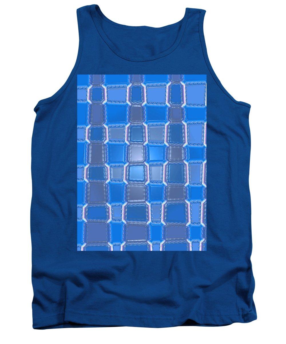 Moveonart! Digital Gallery Tank Top featuring the digital art Moveonart Blue Bricks by Jacob Kanduch