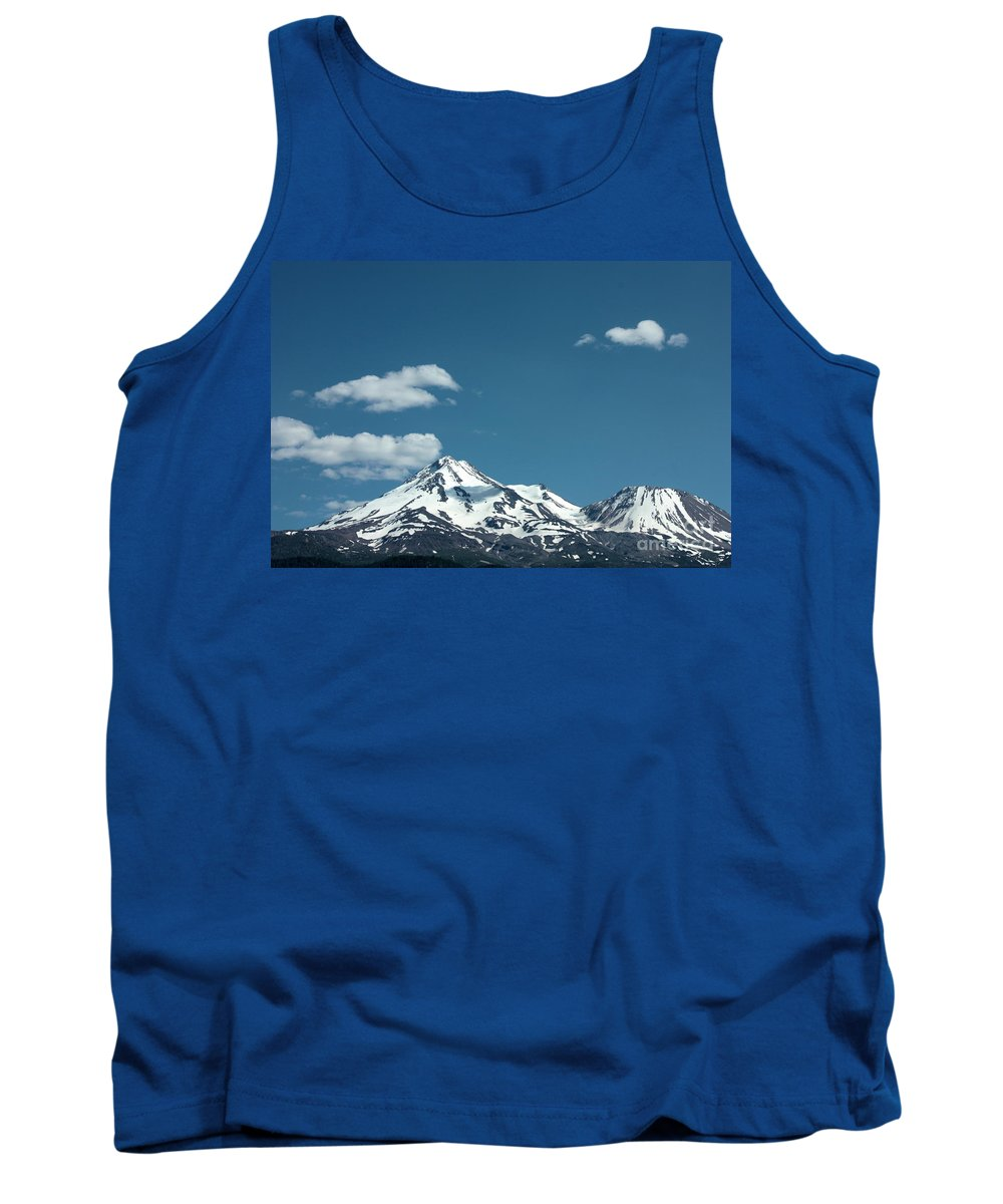 Cloud Tank Top featuring the photograph Mt Shasta With Heart-shaped Cloud by Carol Groenen