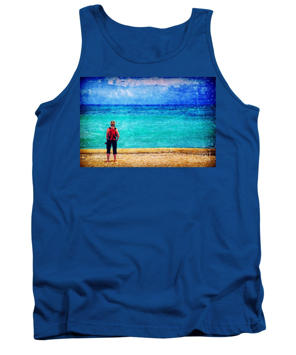 Sea Tank Top featuring the photograph My Thoughts Are Like Sea Waves by Silvia Ganora
