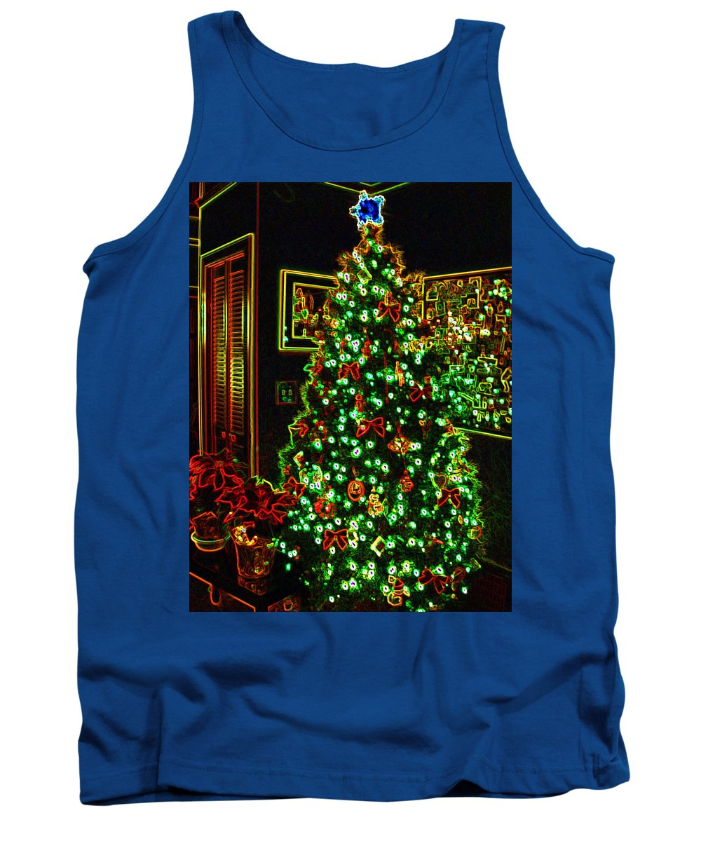 Christmas Tank Top featuring the photograph Neon Christmas Tree by Nancy Mueller