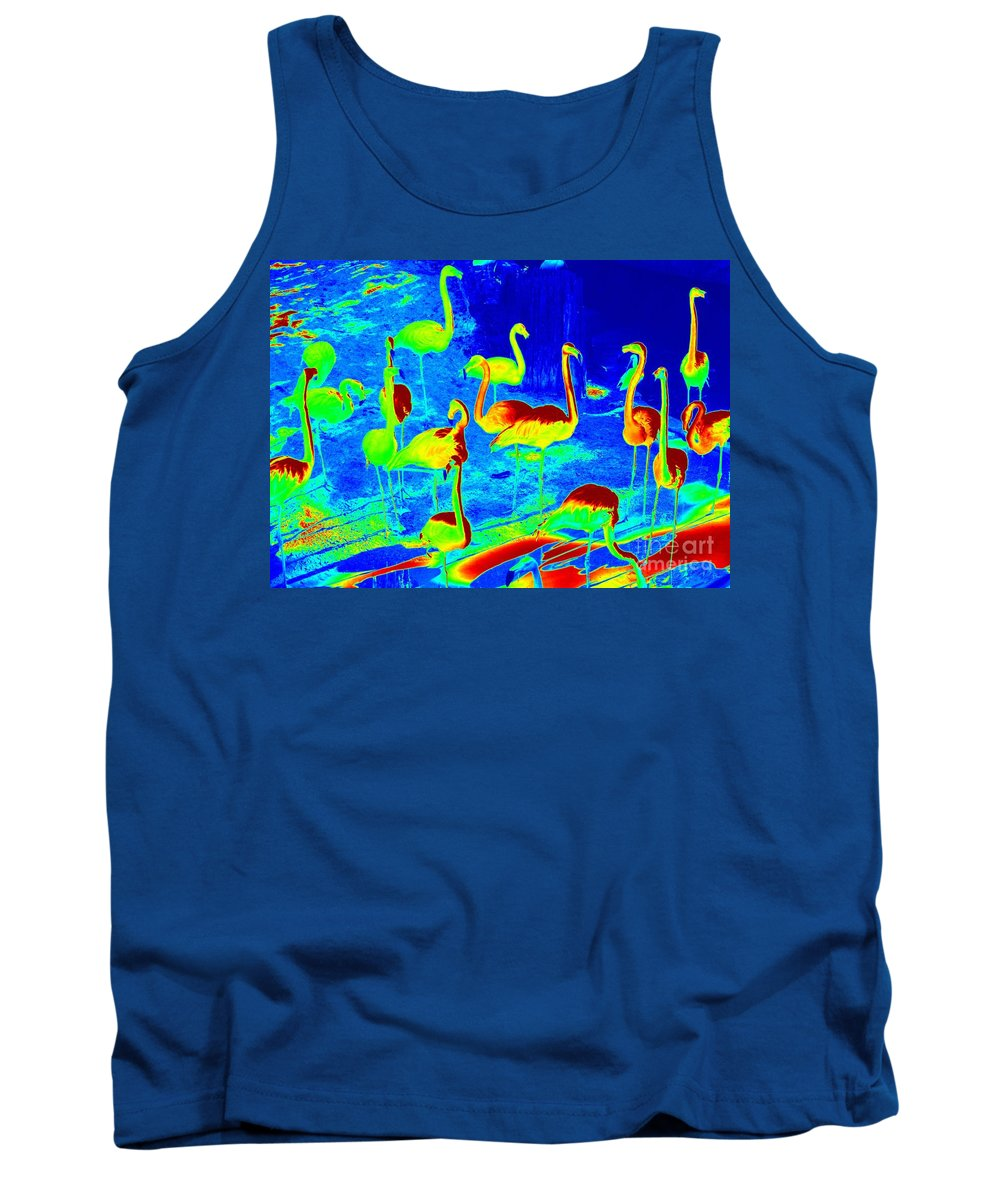 Digital Art Tank Top featuring the photograph Neon Flamingos by Carol Groenen