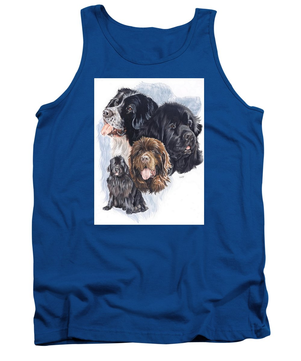 Working Group Tank Top featuring the mixed media Newfoundland W/ghost by Barbara Keith