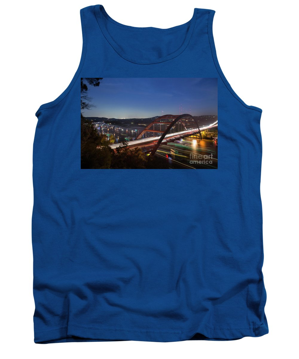Nighttime Tank Top featuring the photograph Nighttime Boats Leave Colorful Streaks As They Cruise Up And Down Lake Austin Below The 360 Pennybacker Bridge by Austin Welcome Center