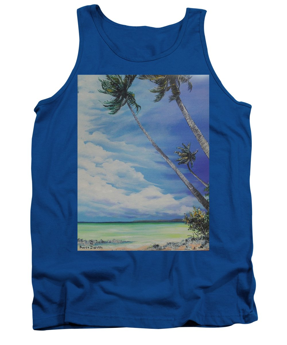 Trinidad And Tobago Seascape Tank Top featuring the painting Nylon Pool Tobago. by Karin Dawn Kelshall- Best