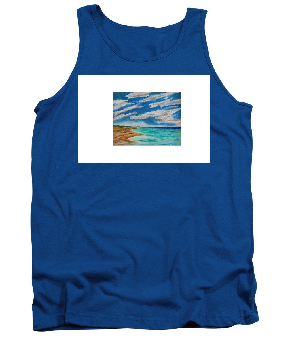 Ocean Beach Sand Tide Waves Sky Coastal Dunes Blue Green Morning Walk Pastel Tank Top featuring the painting Ocean Clouds by Daniel Dubinsky