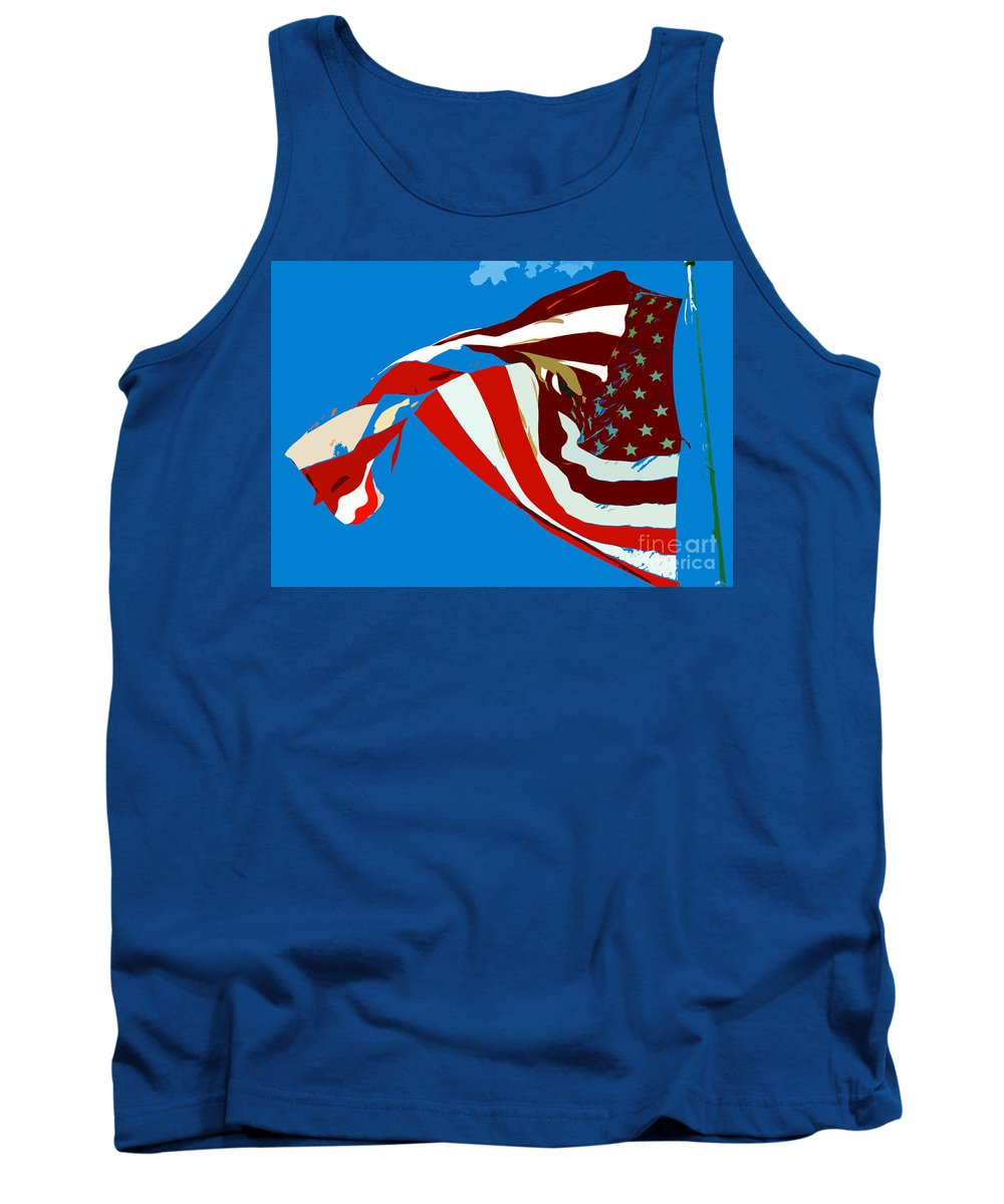 Old Glory Tank Top featuring the painting Old Glory Flying by David Lee Thompson