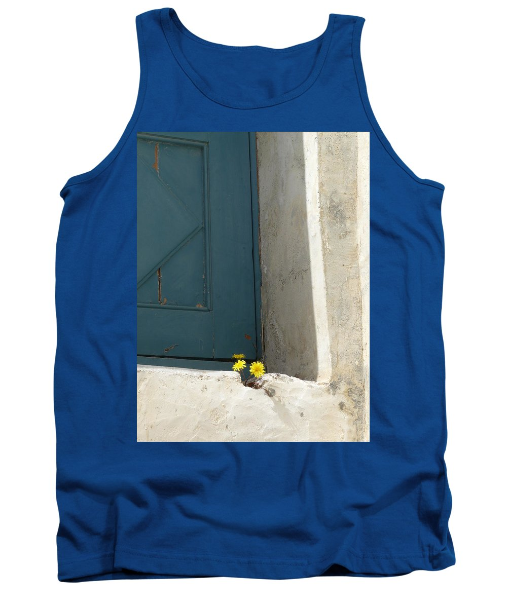 Old Tank Top featuring the photograph Old Greek Door by Valerie Ornstein