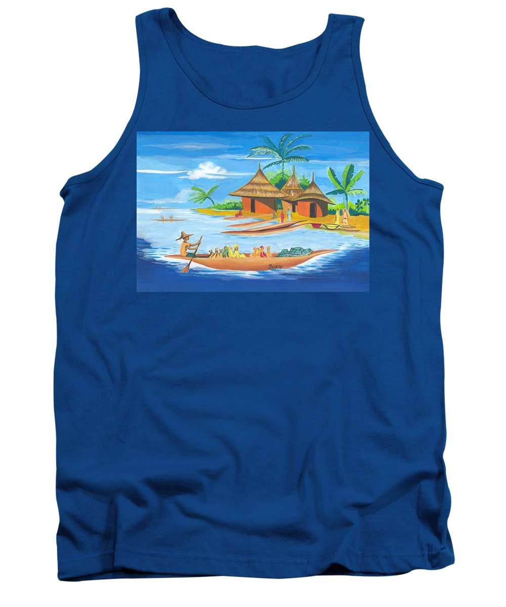 Landscapes Tank Top featuring the painting On The Shores Of Lake Kivu In Congo by Emmanuel Baliyanga