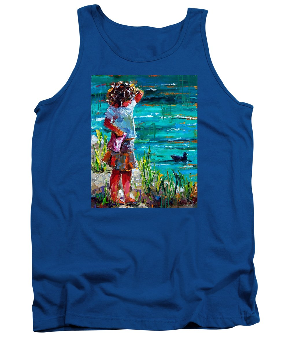 Children Tank Top featuring the painting One Lucky Duck by Debra Hurd
