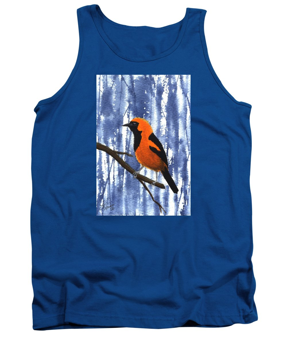 Bird Tank Top featuring the painting Orange-headed Oriole by Lynn Quinn
